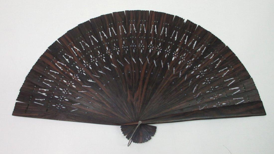 3 Vintage Fan's - Teak, Enameled - 2