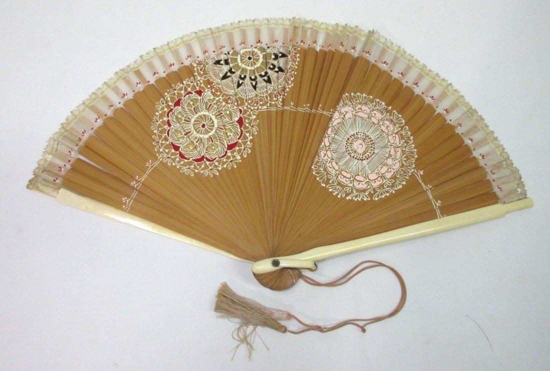 3 Vintage Fan's - Teak, Enameled - 3