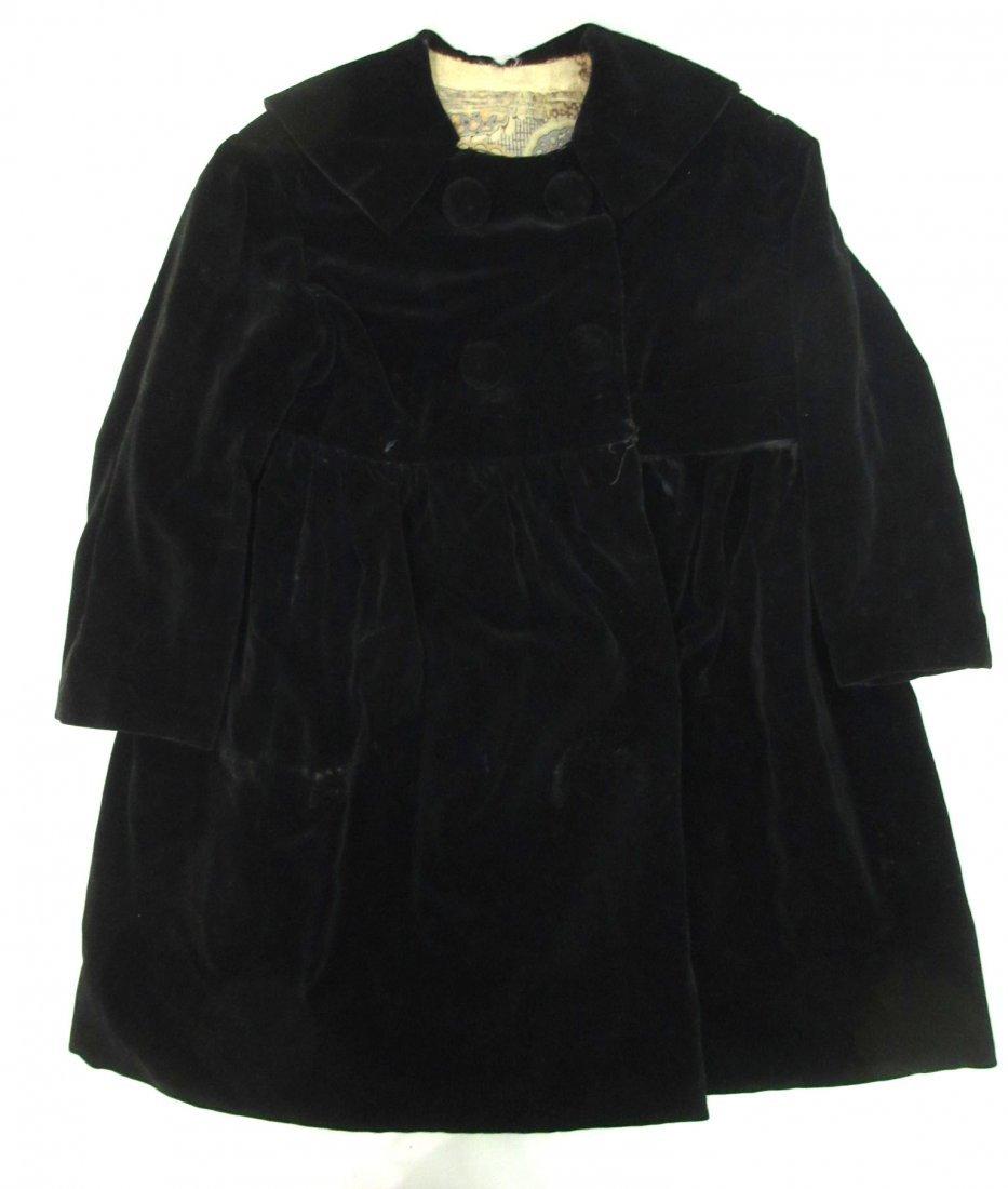 30's or 40's Black Velvet Child's Coat