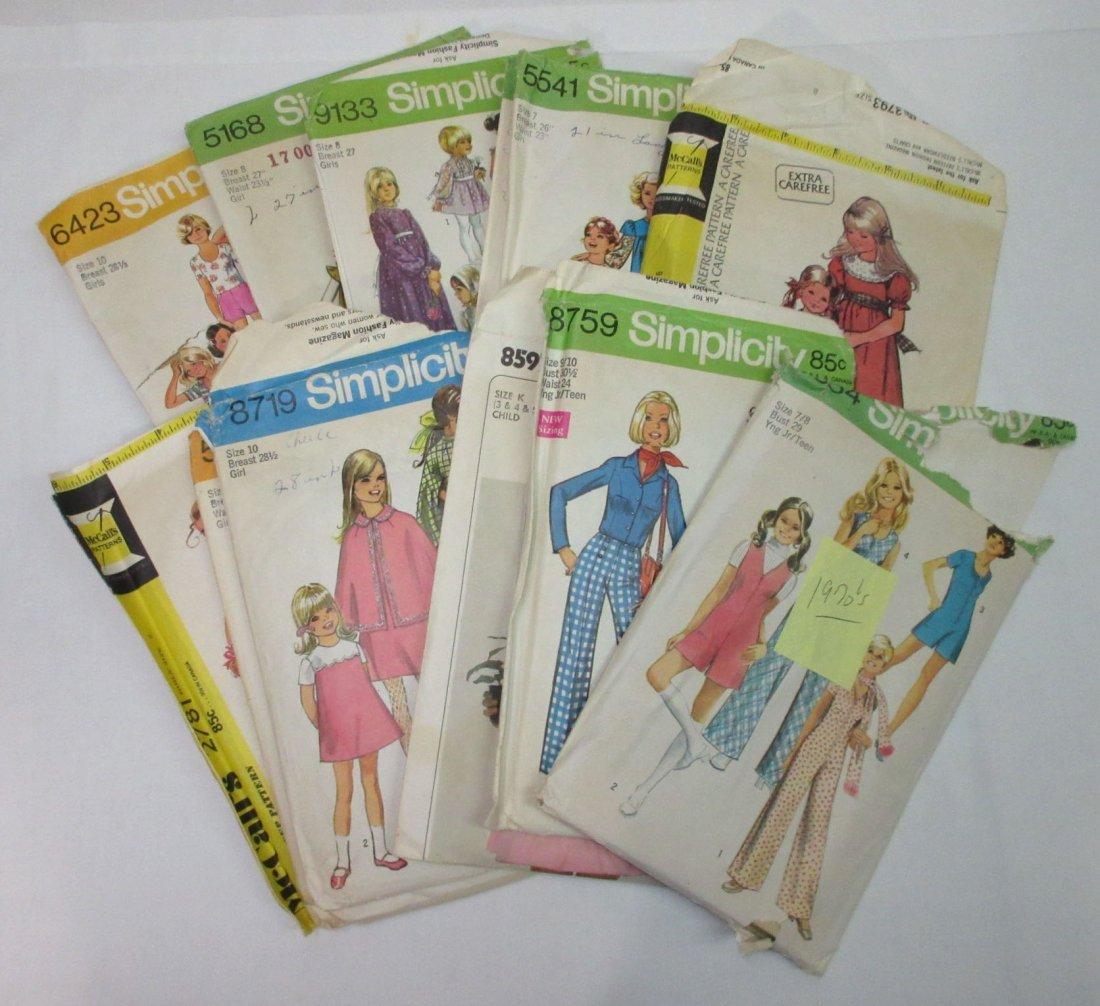 1970's Young Teen & Girls Dress Patterns, 12pc