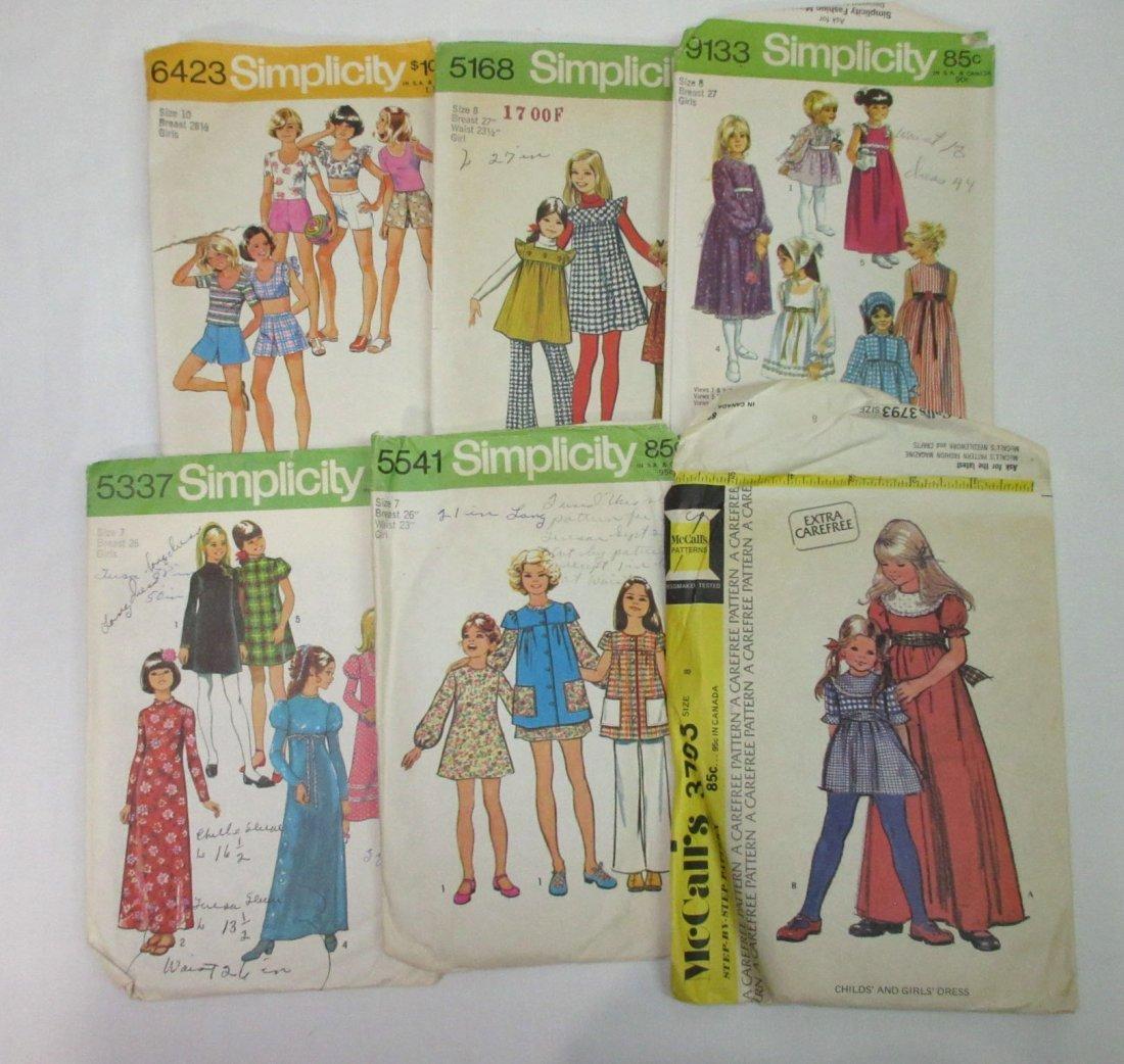 1970's Young Teen & Girls Dress Patterns, 12pc - 2