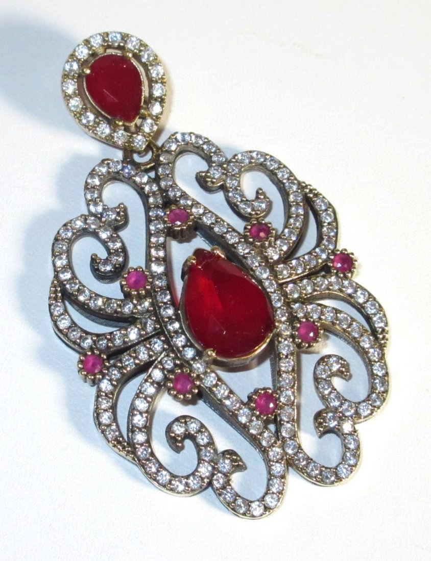 Sterling, Ruby, & Marcasite Pendant