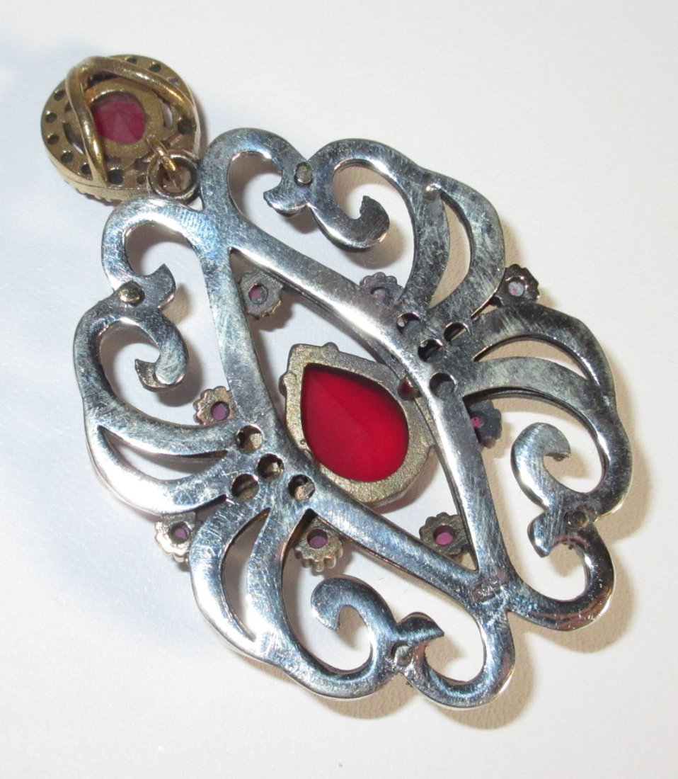 Sterling, Ruby, & Marcasite Pendant - 3