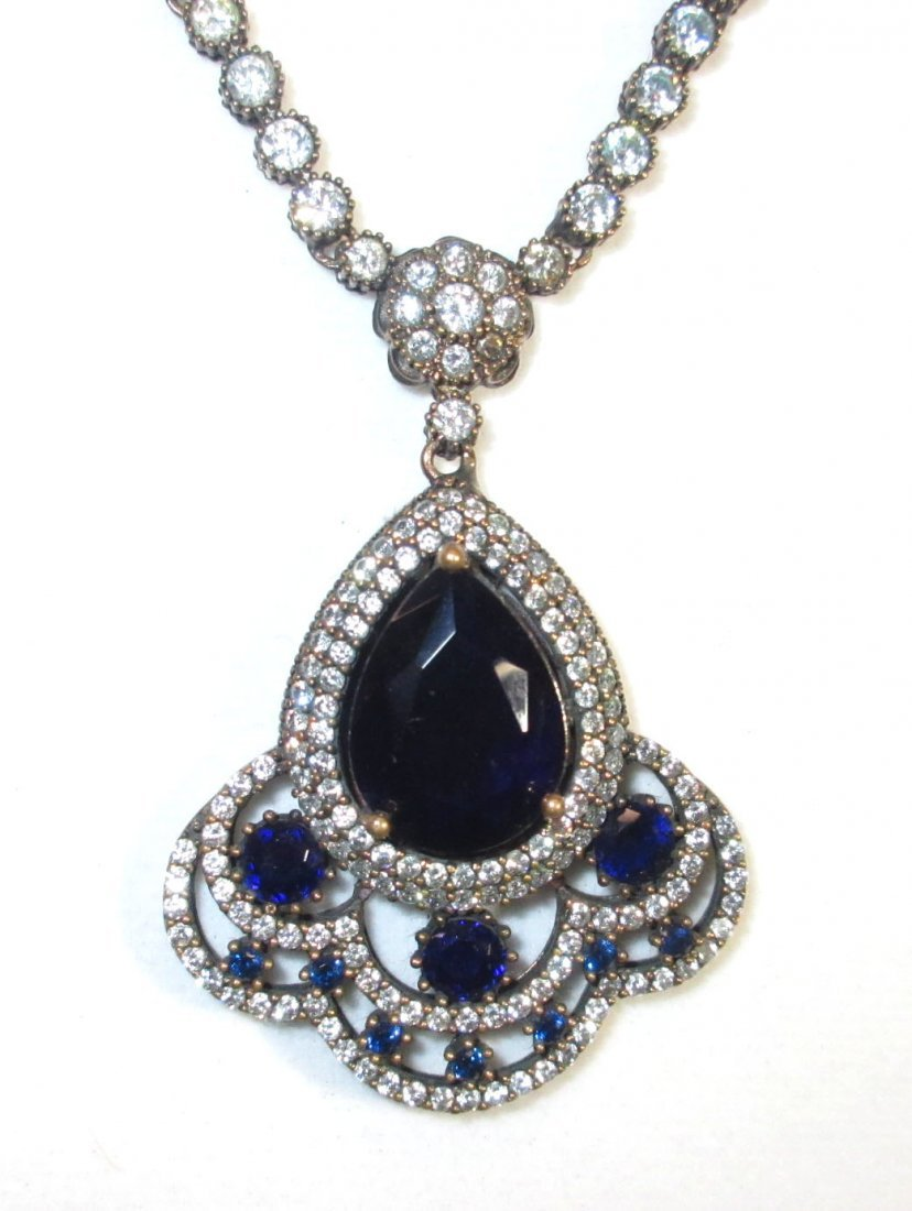 Sterling Necklace w/ Marcasite & Blue Glass - 2