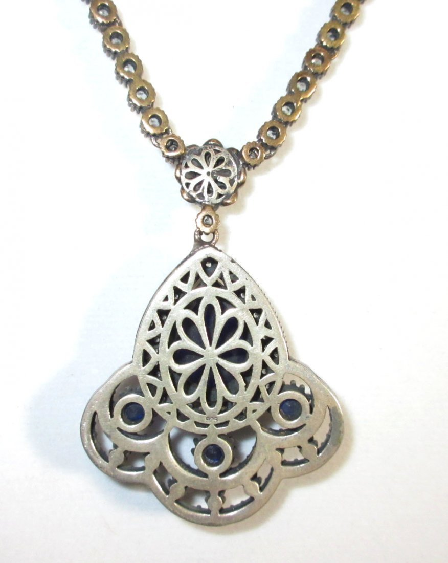 Sterling Necklace w/ Marcasite & Blue Glass - 3