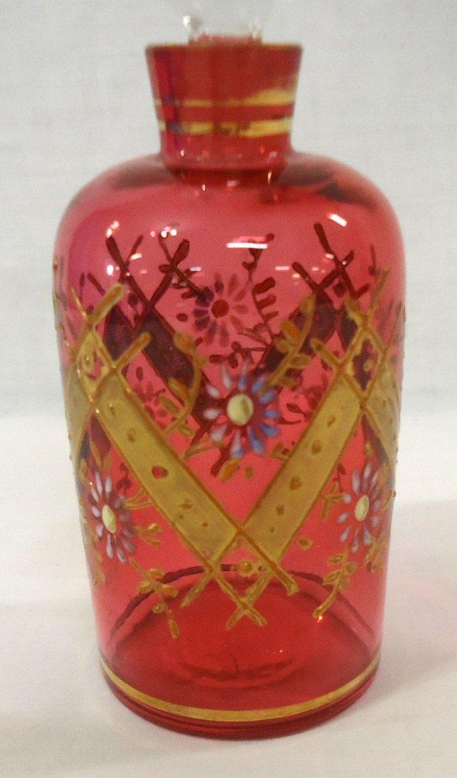 Enameled Cranberry Perfume Bottle - 3
