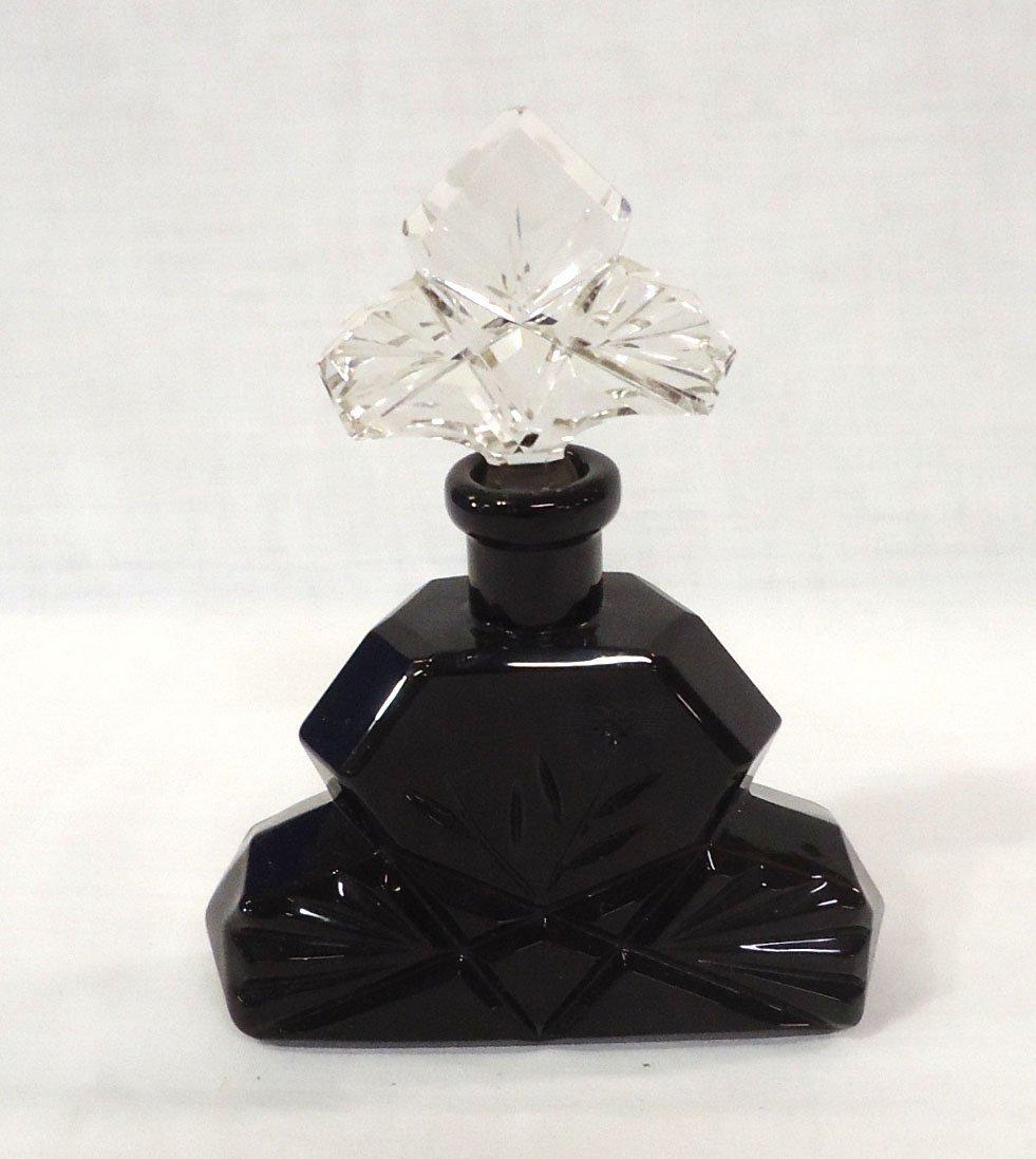 Czech. Perfume Bottle w/ Cut Design