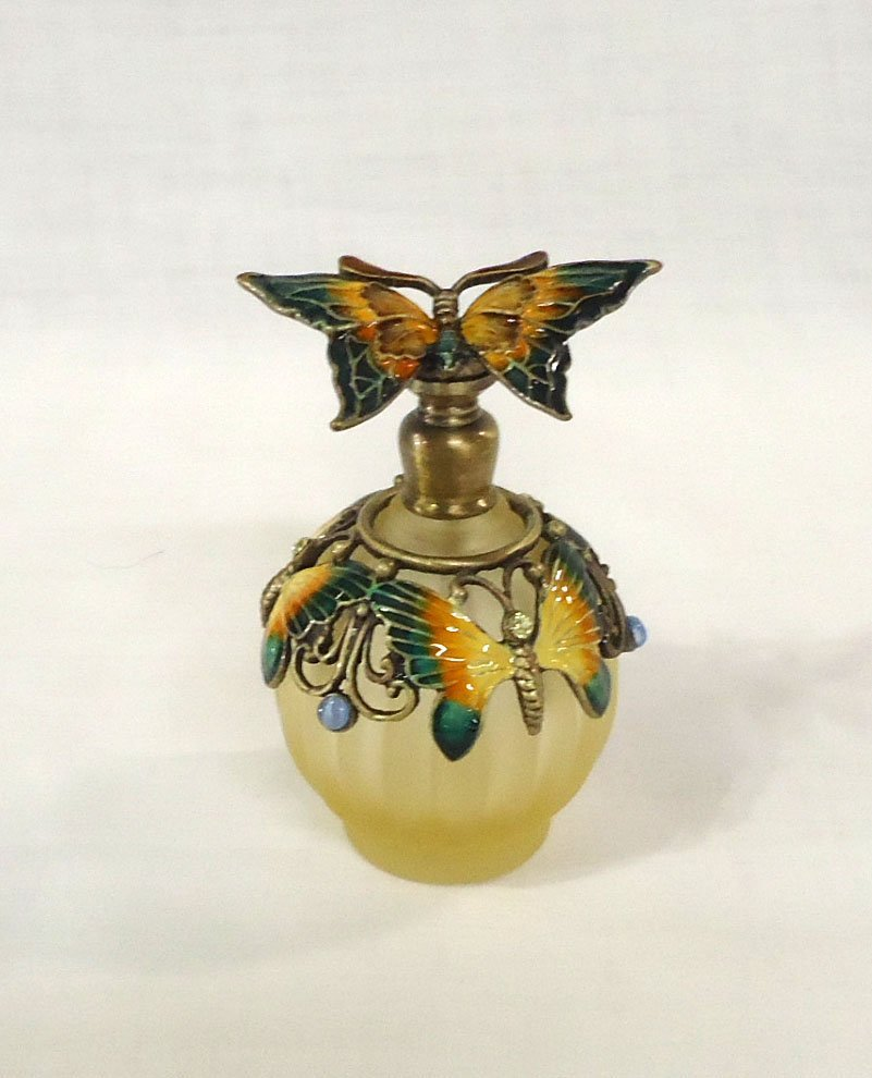 Enameled Butterfly Perfume Bottle