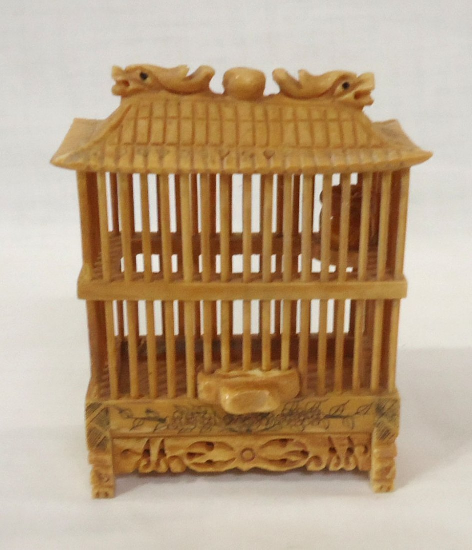 Oriental Carved Bone Cricket Cage