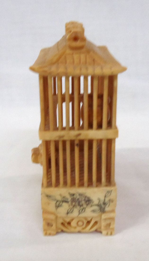 Oriental Carved Bone Cricket Cage - 2