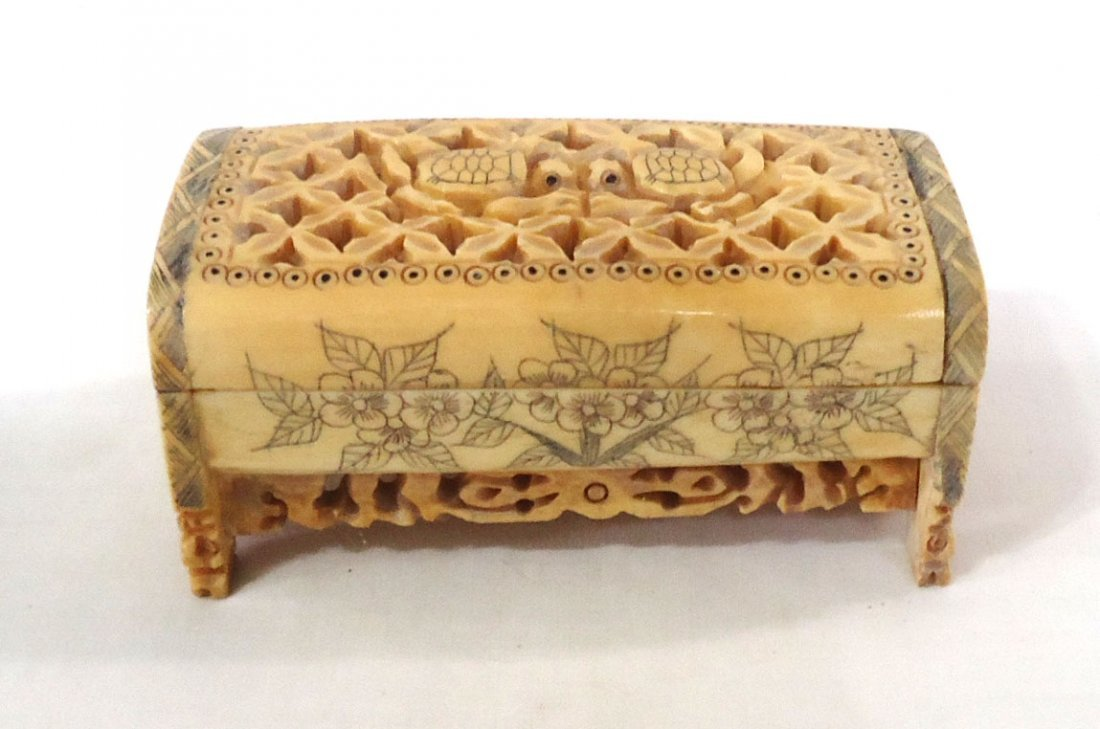 Oriental Carved Bone Cricket Box