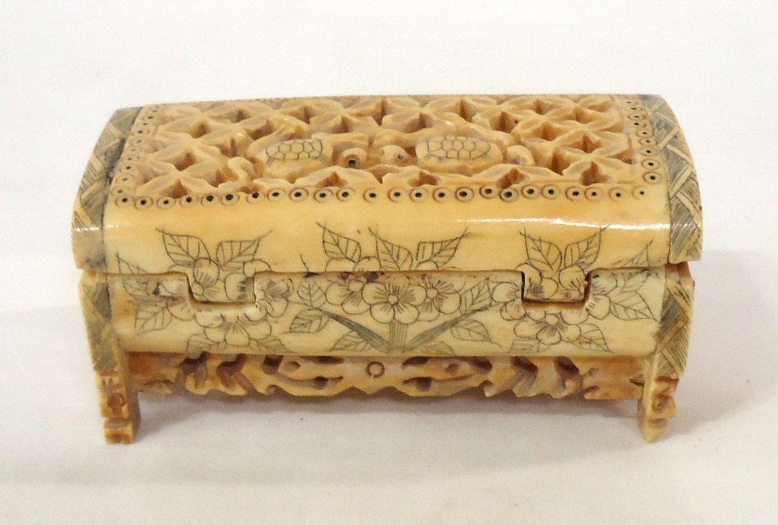 Oriental Carved Bone Cricket Box - 3