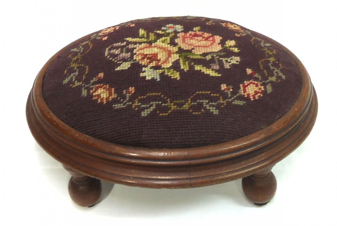 Victorian Walnut Needlepoint Footstool
