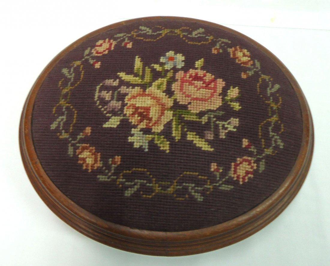 Victorian Walnut Needlepoint Footstool - 2