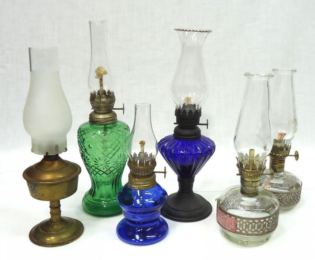 Lot Of 6 Miniature Oil Lamps