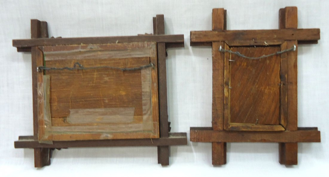 2- Walnut Vict. Criss Cross Frames - 6
