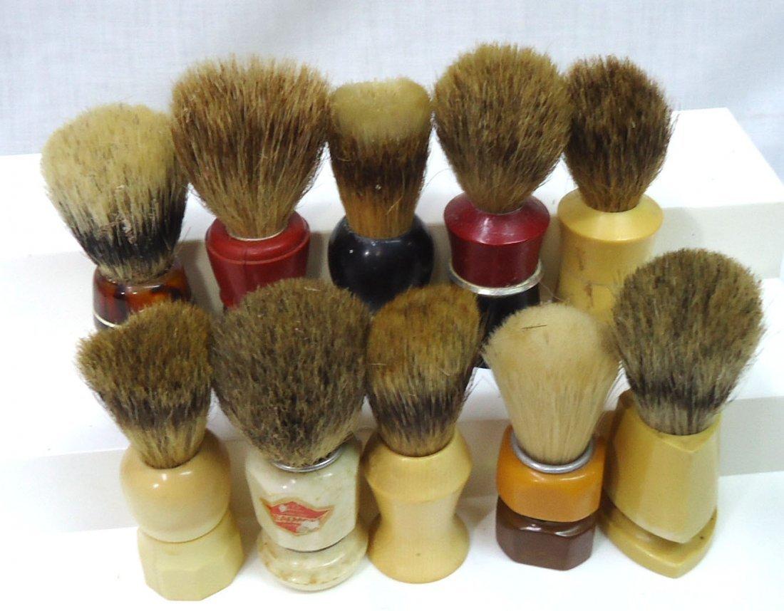 Lot Of 10 Badger & Other Shaving Brushes