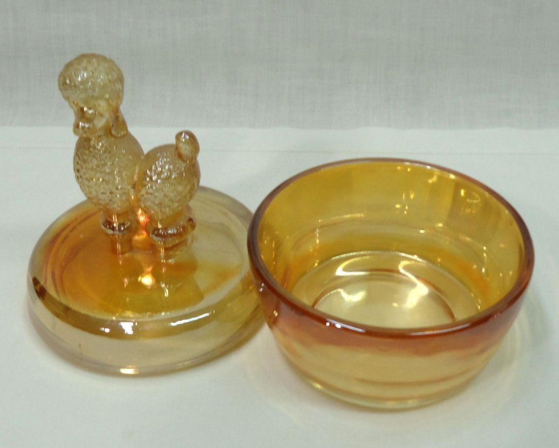 Carnival Glass Poodle Powder Dish - 3