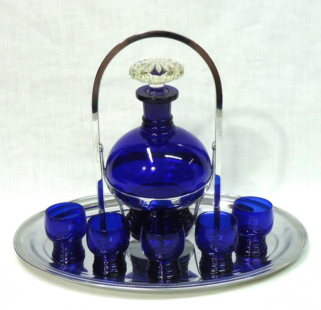 Chrome & Cobalt Deco Drink Set