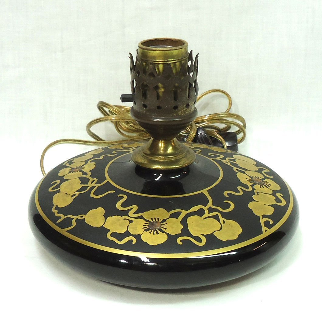 Gold Enameled Miller Pancake Lamp