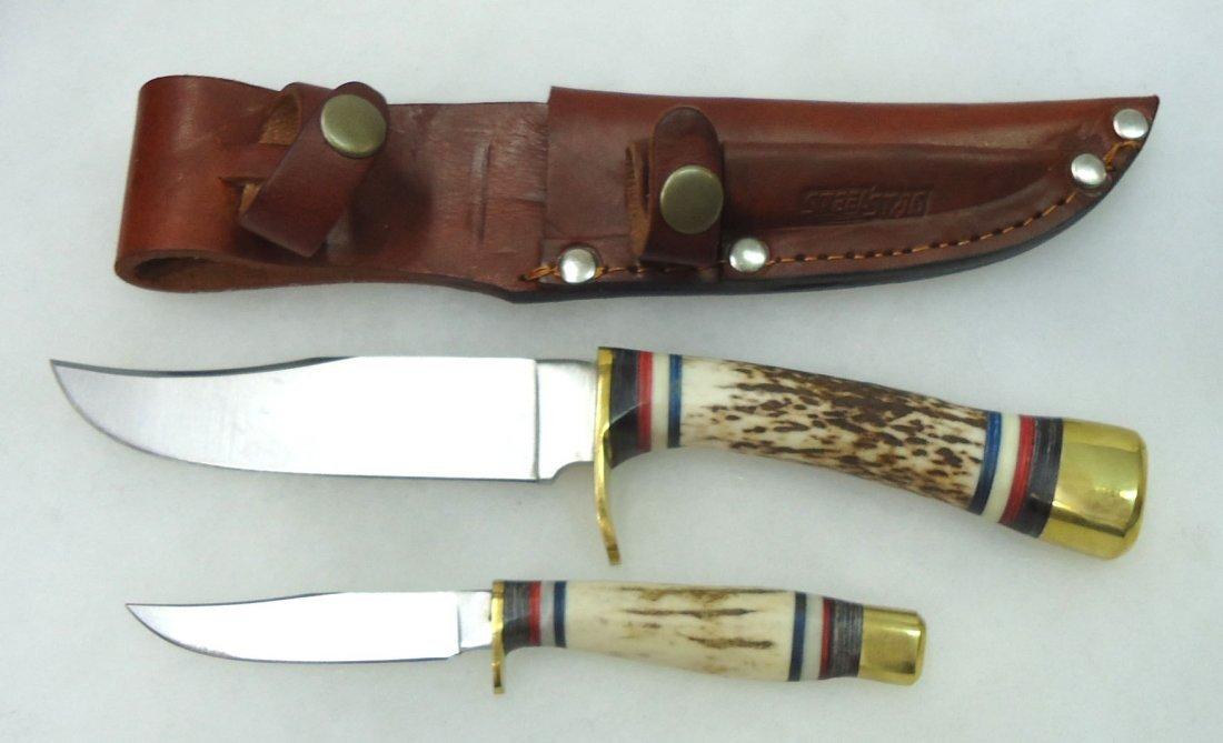 Dbl. Stag Handle Hunting Knife Set