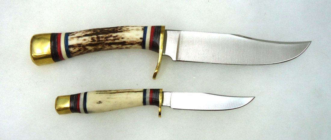 Dbl. Stag Handle Hunting Knife Set - 2