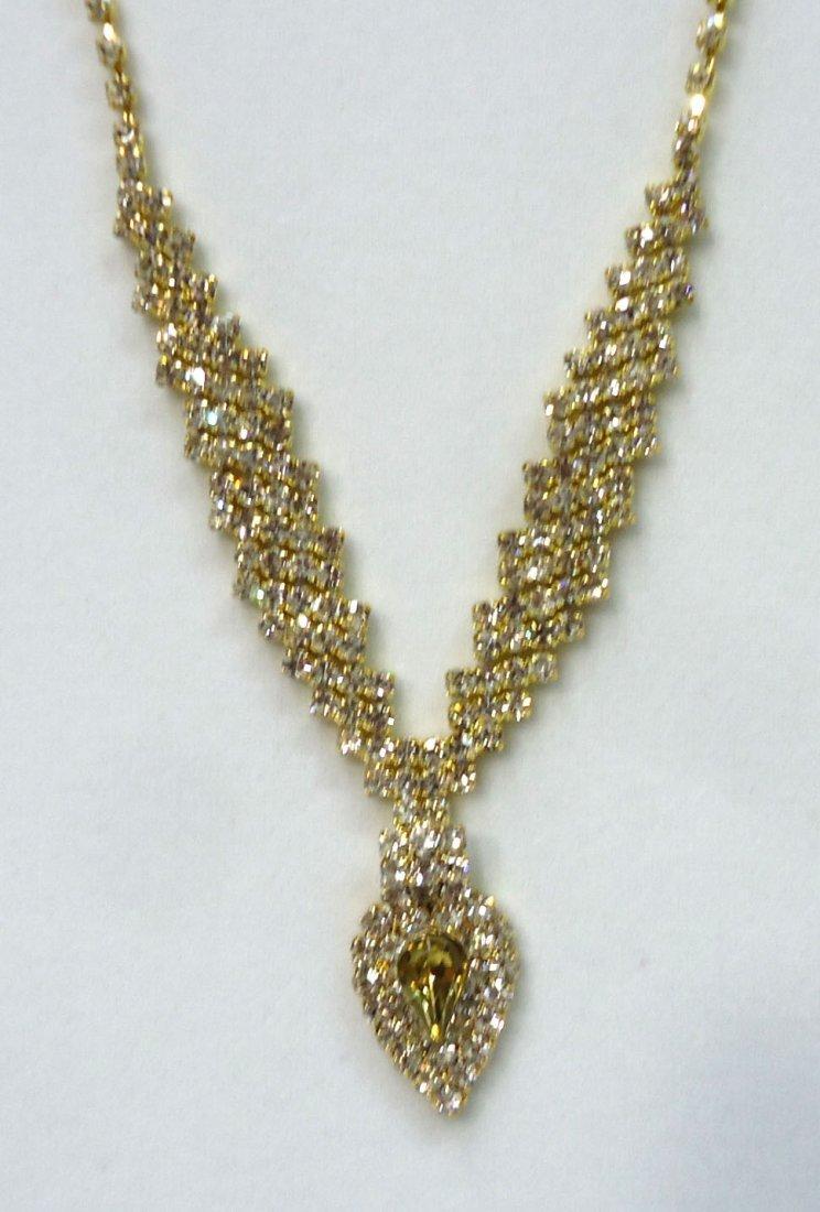 Rhinestone Necklace & Earrings - 2