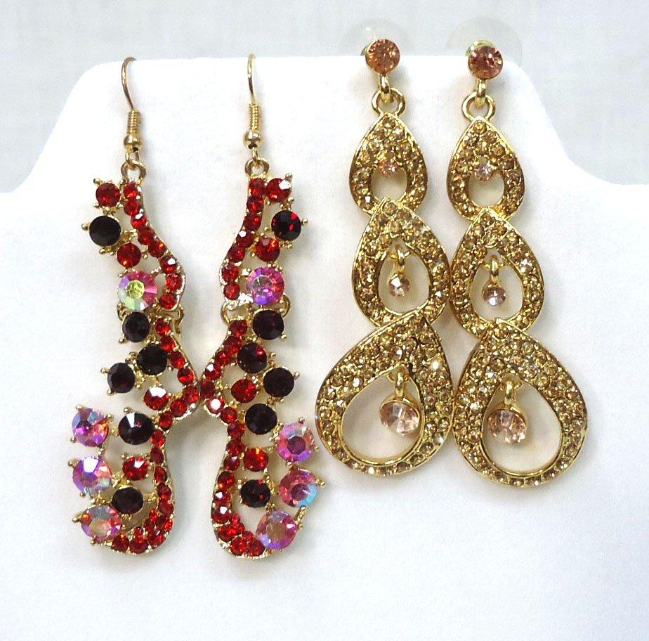 2pr Rhinestone Earrings