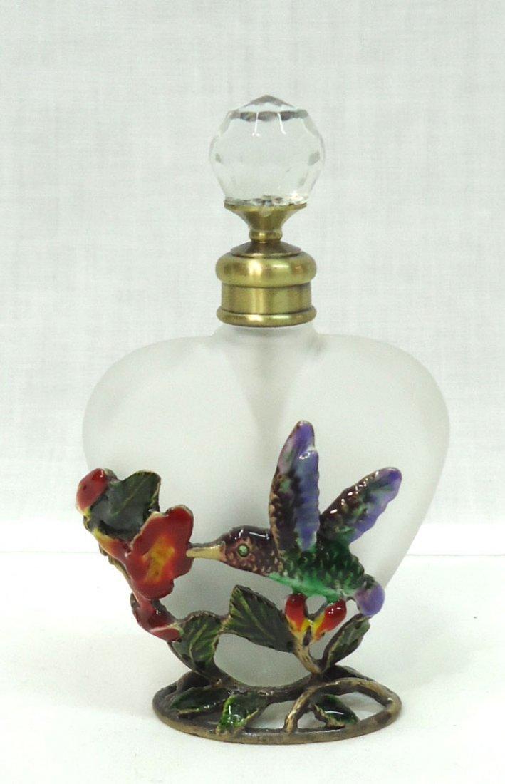 Perfume Bottle w/ Enameled Hummingbird