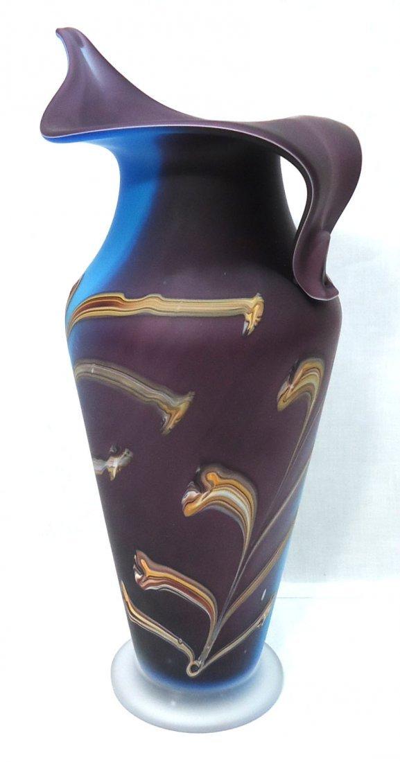 Lg. Art Glass Vase Sgnd - 2