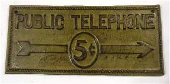 Cast Iron Telephone Sign