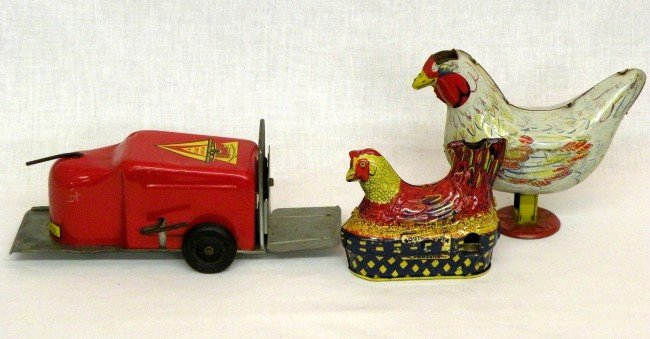 8: Toy fork lift & chickens