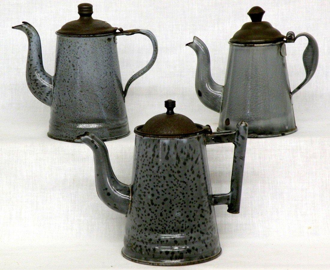 255: 3 gray agate gooseneck tea kettles