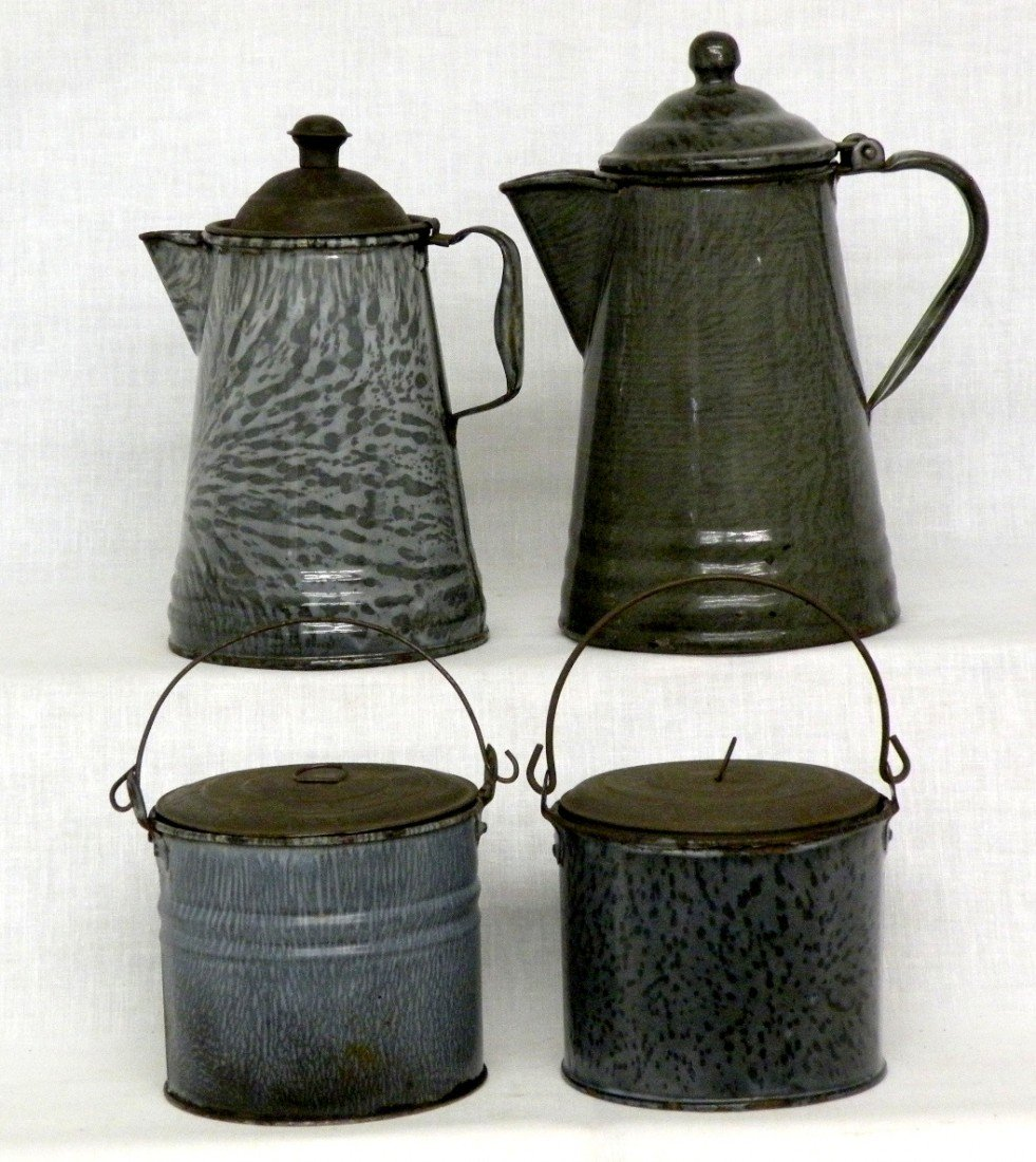 258: 2 gray agate covered berry buckets & coffee pots