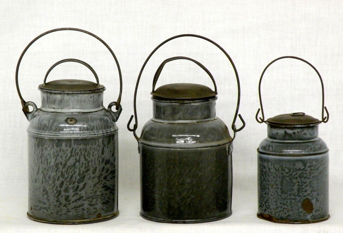 259: 3 gray agate covered milk pails