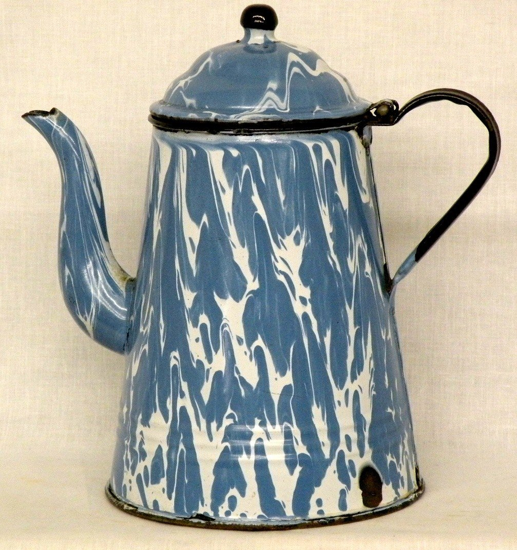 266: Blue & white agate gooseneck coffee pot