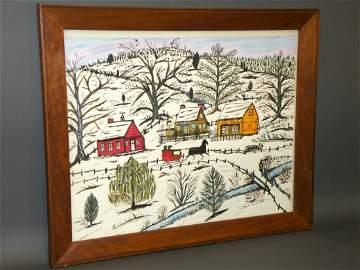 501: Hattie Brunner winter scene watercolor