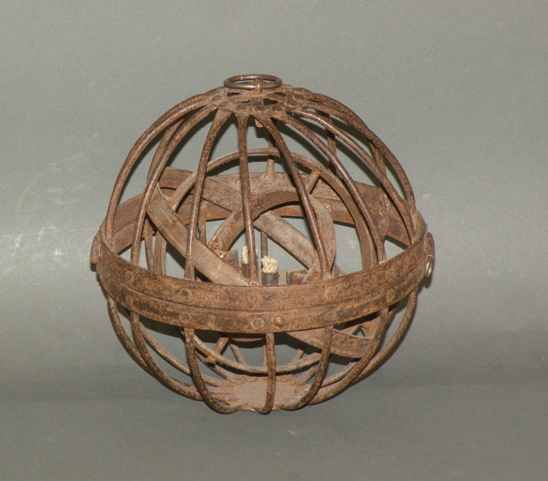 594: Wrought iron ship's ball style hanging light