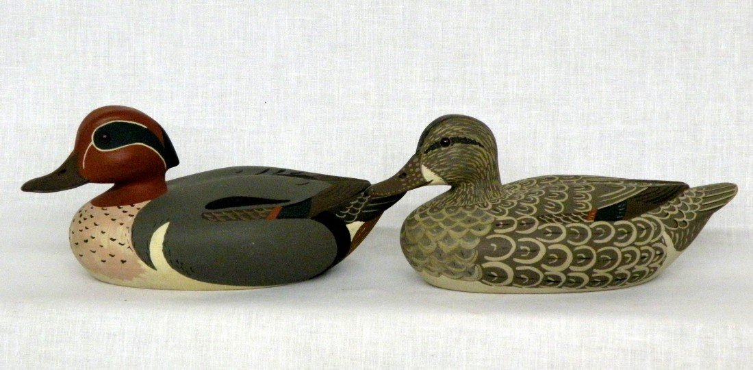 24: Pair of green wing teal decoys