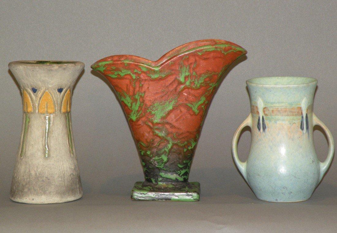 3: 1 Weller & 2 Roseville vases