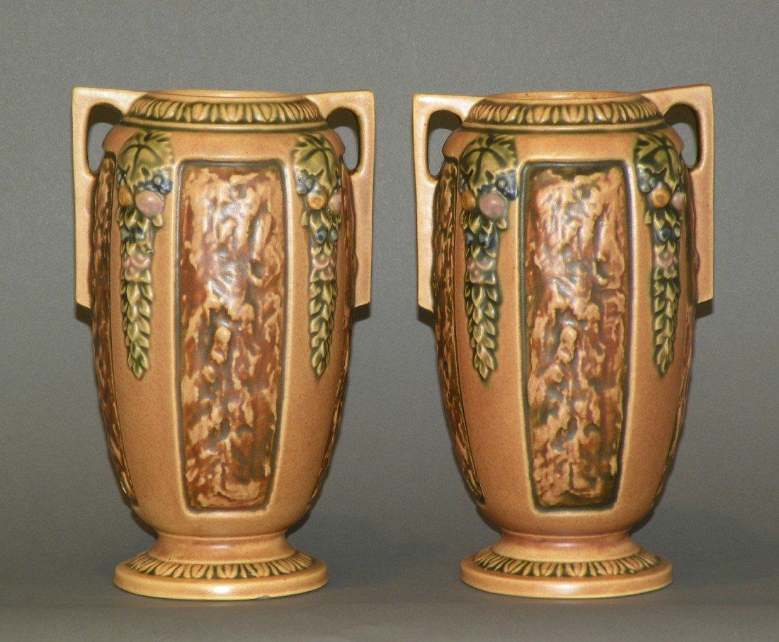 "4: 2 brown Roseville ""Florentine"" vases"