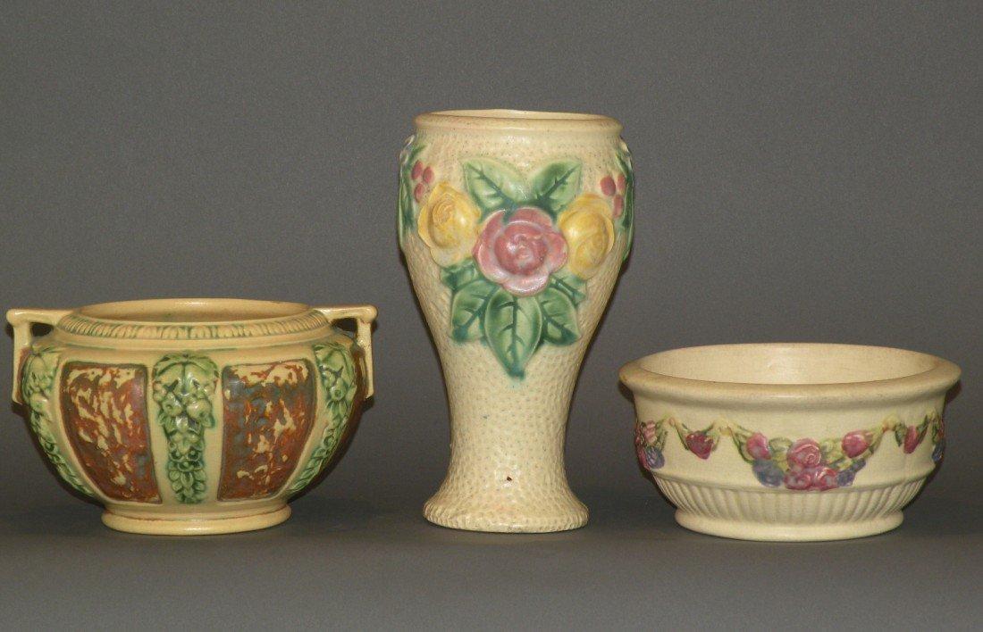 10: 2 Roseville vases & 1 Weller bowl