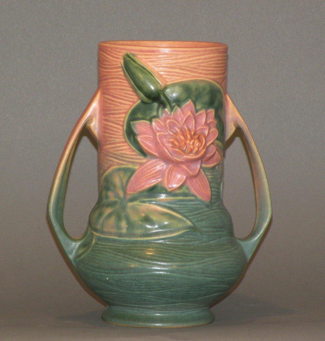 "11: Green Roseville ""Water Lily"" vase"