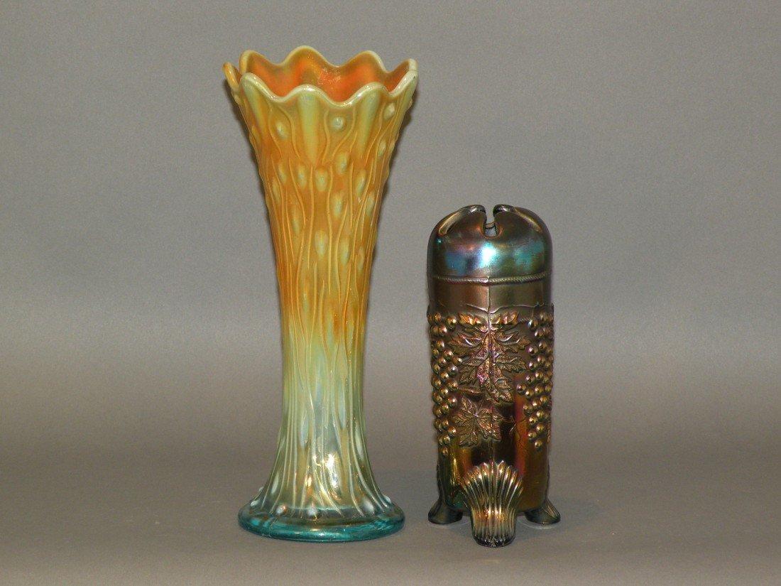64: 2 carnival glass vases