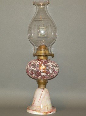 Blown Glass Kerosene Lamp