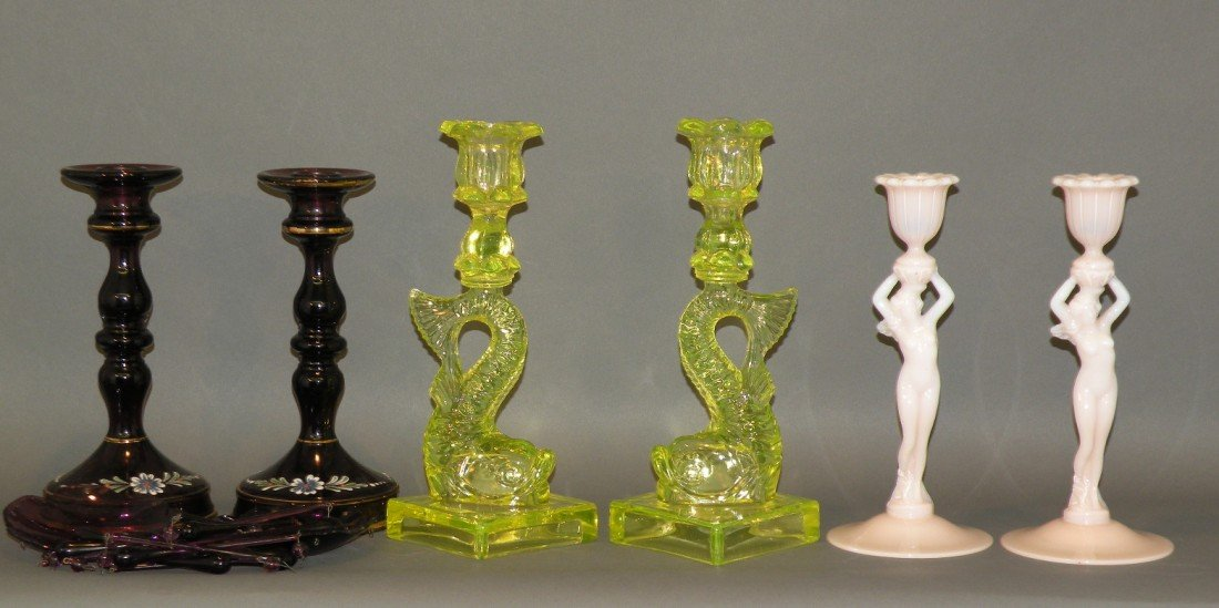 110: 3 pair of candleholders