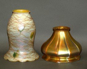2 Quezal Art Glass Lampshades
