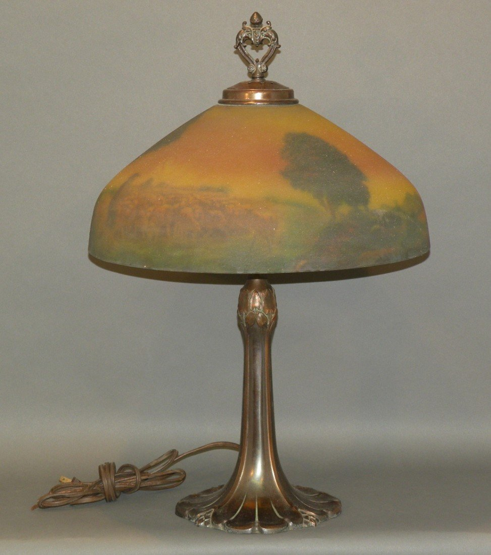 134: Reverse painted lamp
