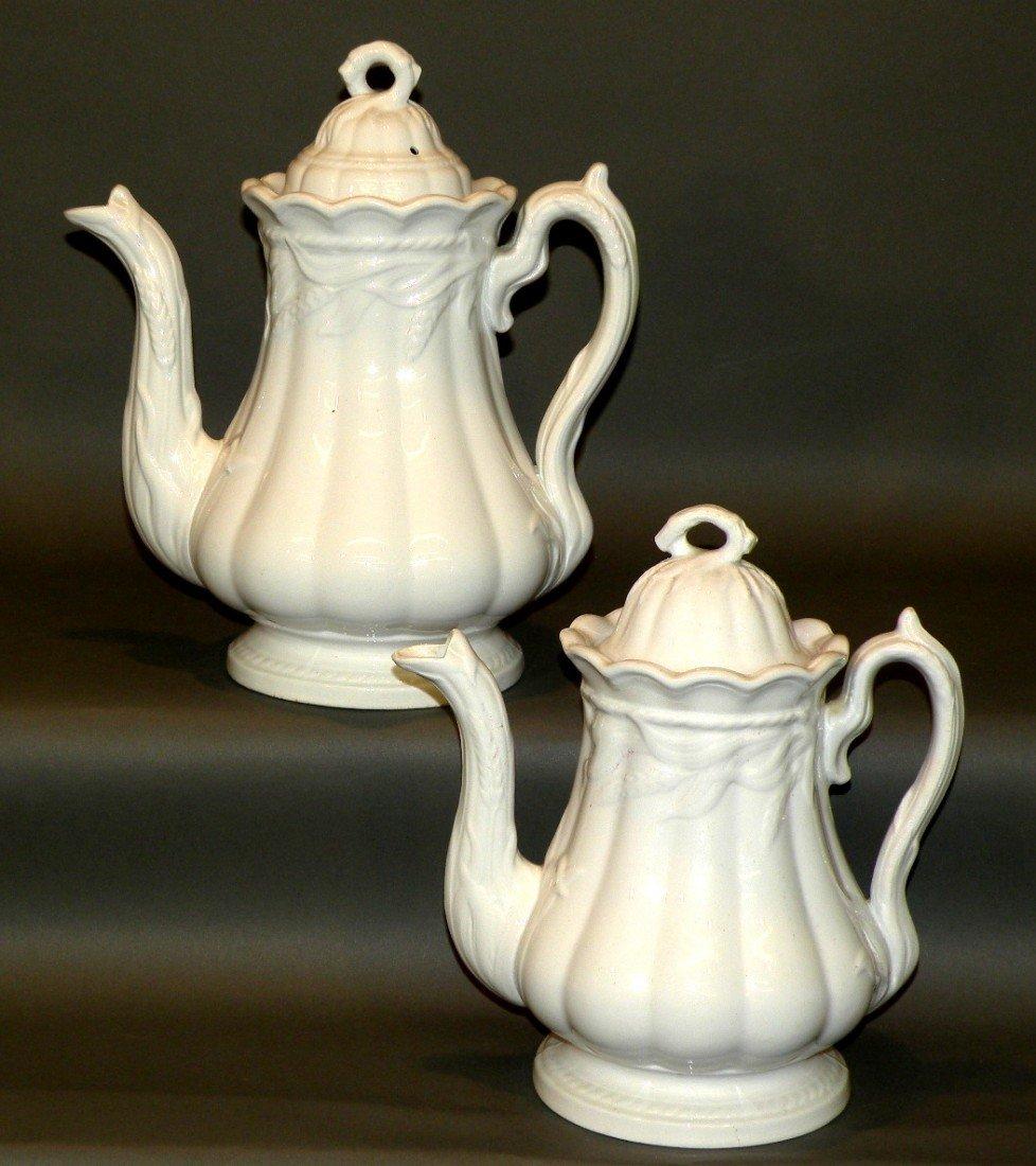 145: 2 white ironstone wheat teapots