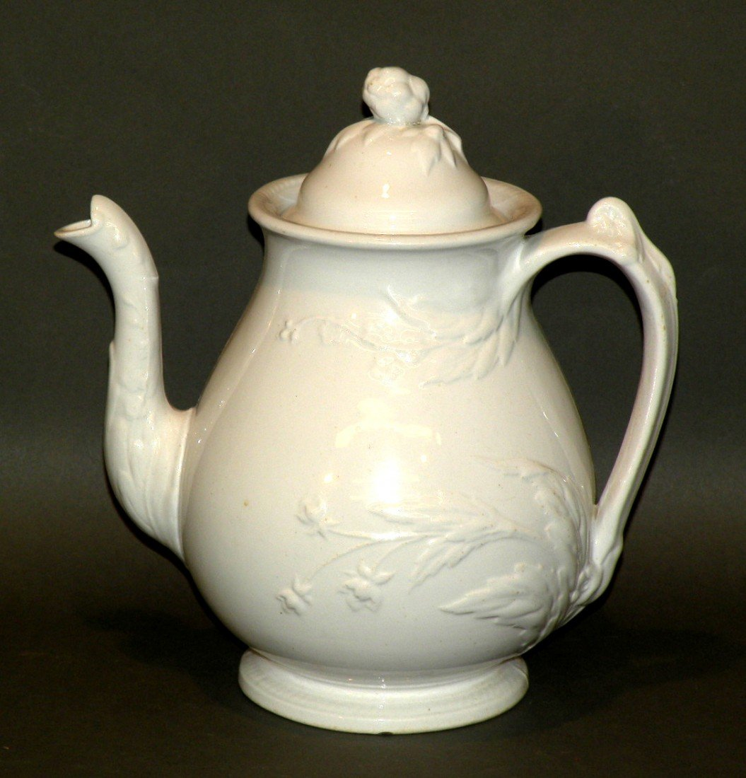 149: White ironstone coffee pot